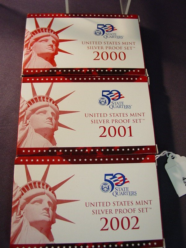 433: 2000 2001 2002 U.S. SILVER PROOF SETS