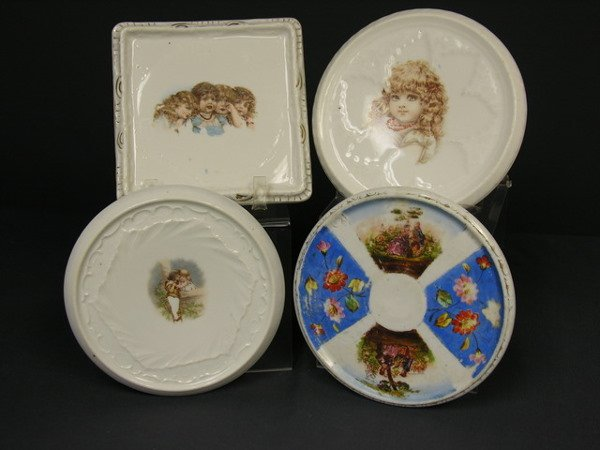 442: SET OF FOUR VICTORIAN PORCELAIN HOT PLATES