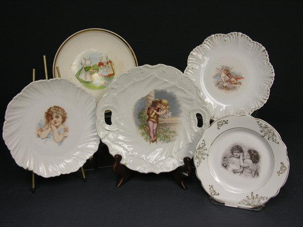 443: LOT OF 5 VICTORIAN PLATES  7 1/2'' to 9''diam