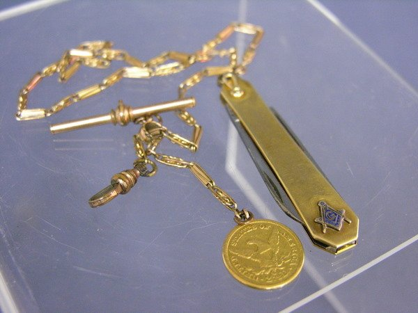 519: MASONIC KNIFE WATCH FOB WITH 1856 2 1/2 DOLLAR GOL