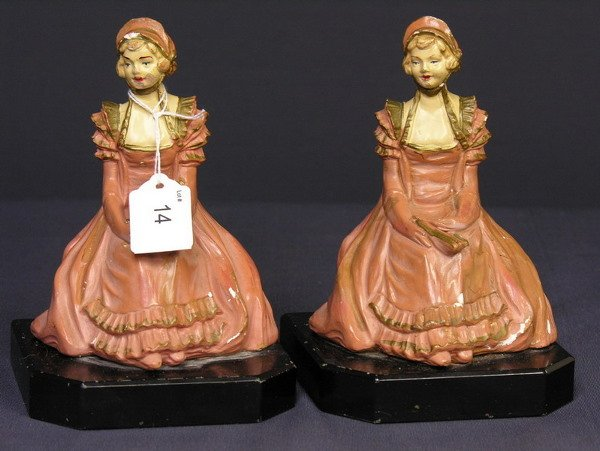14: VICTORIAN CHALK BOOKENDS ON MARBLE BASES