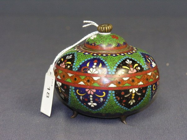 18: EARLY CLOISONNE ROSE BOWL WITH LID