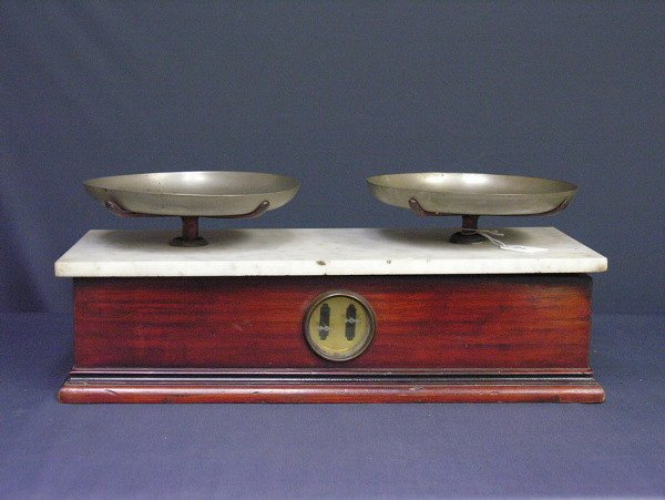 21: VICTORIAN MARBLE TOP BALANCE SCALES