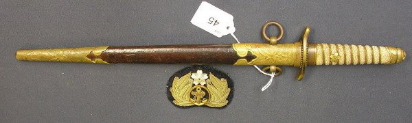 45: JAPANESE NAVAL OFFICER DAGGER AND PATCH