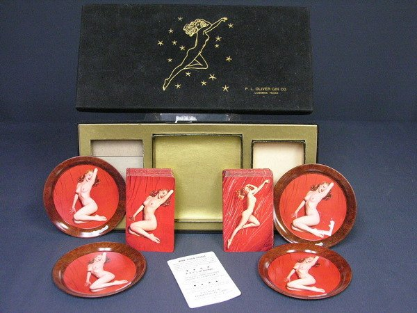 155: MARILYN MONROE NUDE CARDS AND COASTER SET P.L.