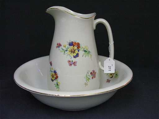 211 Empire Ware England Pitcher And Wash Bowl