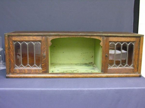 581: UNUSUAL LEADED GLASS BOOKCASE STACK SECTION