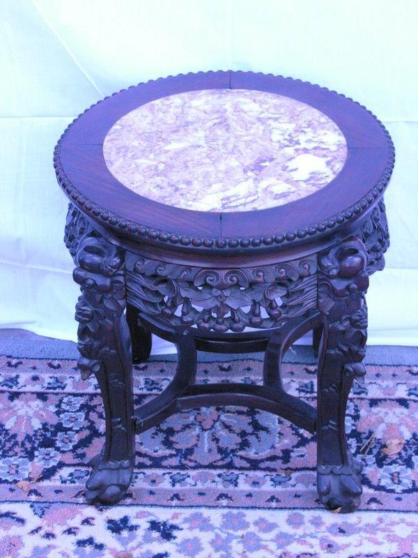 582: ORIENTAL MARBLE TOP TABLE