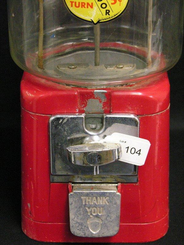 104: OAK ACORN PENNY NICKEL GUMBALL MACHINE - 2
