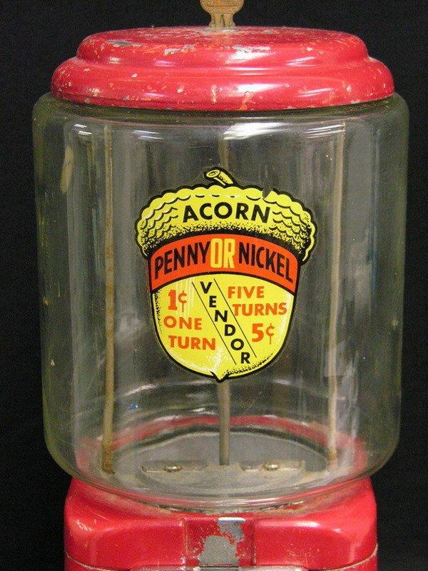 104: OAK ACORN PENNY NICKEL GUMBALL MACHINE - 3