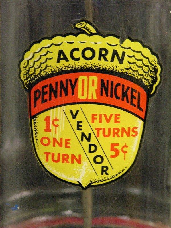 104: OAK ACORN PENNY NICKEL GUMBALL MACHINE - 4