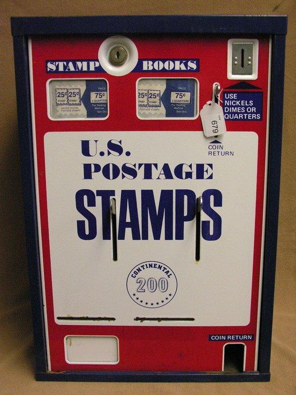 679: U.S. POSTAGE STAMP VENDING MACHINE PORCELAIN FRONT