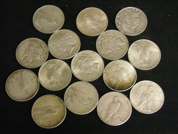 1004: 15 U.S. SILVER PEACE DOLLARS ESTATE LOT
