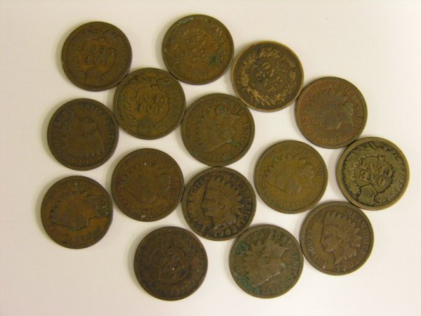 1009: 15 U.S. INDIAN HEAD PENNIES ESTATE LOT
