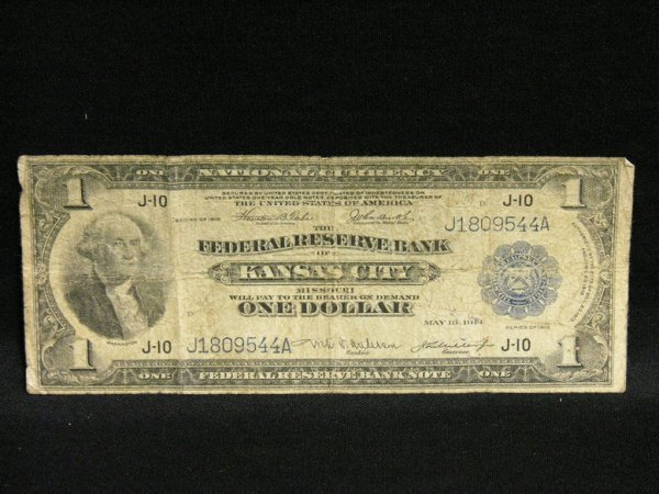 1011: 1914 KANSAS CITY ONE DOLLAR NATIONAL CURRENCY