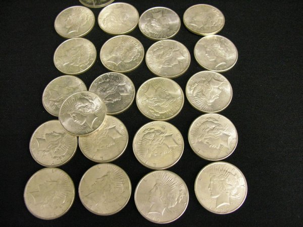 1014: 21 1923 D A.U. PEACE DOLLARS  ESTATE LOT