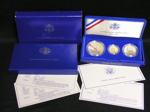 1022: 1986 U.S. GOLD AND SILVER LIBERTY PROOF SET
