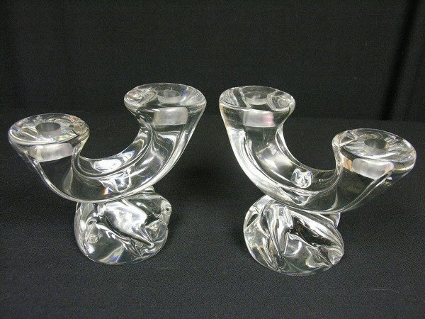 7: PAIR DAUM FRANCE CANDLE HOLDERS