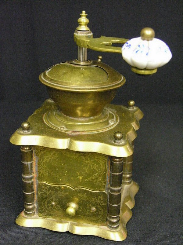 13: VICTORIAN BRASS COFFEE GRINDER
