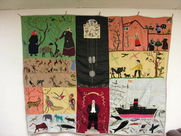 117: IMMIGRANT OR SHIP QUILT FOLK ART TAPESTRY