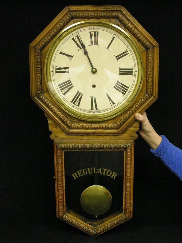 504: WATERBURY OAK REGULATOR WALL CLOCK