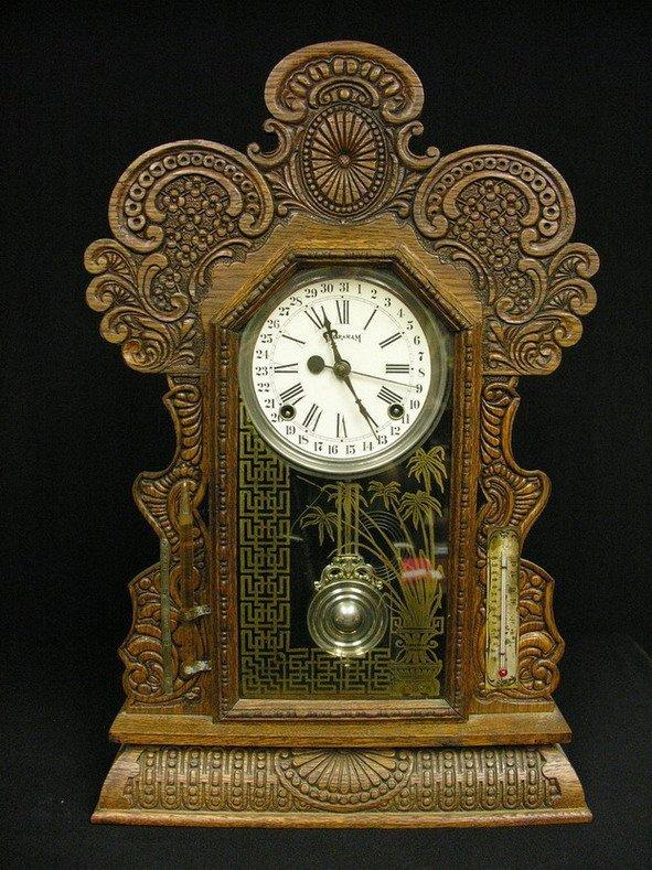 506: INGRAHAM OAK GINGERBREAD KITCHEN CLOCK