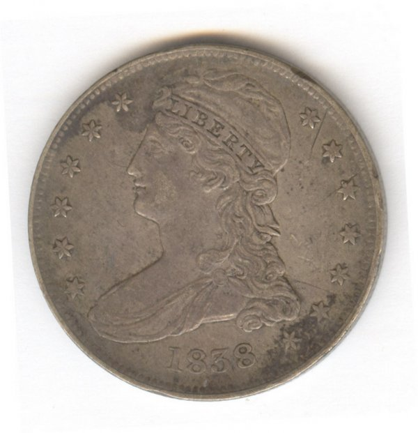 522: 1838 BUST U.S. SILVER HALF DOLLAR