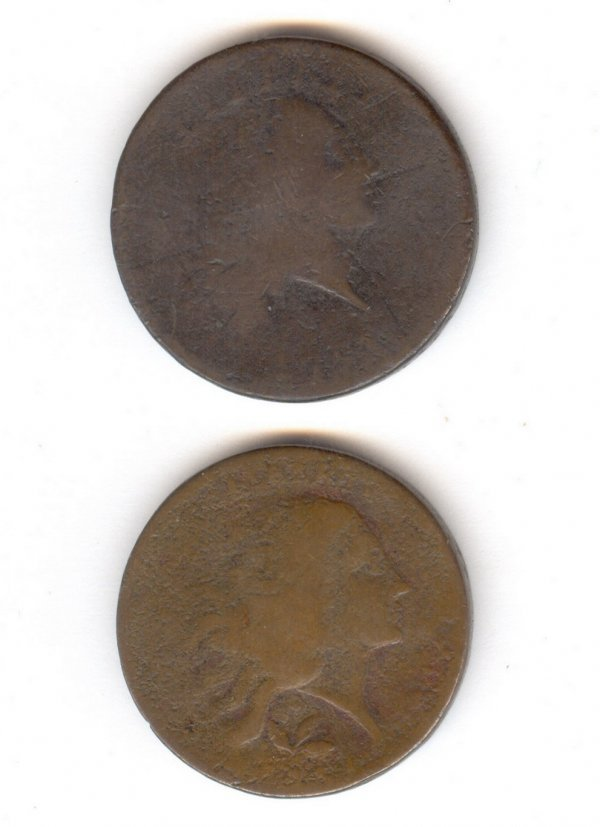 561: TWO RARE 1793 FLOWING HAIR U.S. CENTS