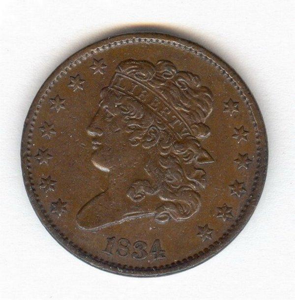 1404: 1834 U.S. HALF CENT COIN