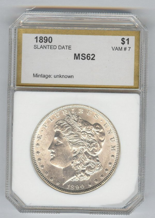 1405: 1890 U.S. MORGAN SILVER DOLLAR MS-62 SLANTED DATE
