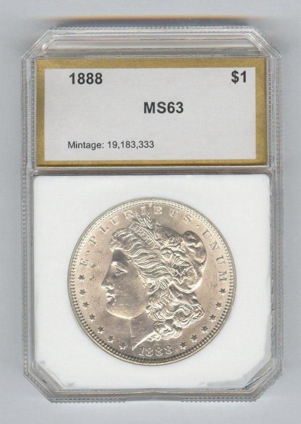 1407: 1888 U.S. MORGAN SILVER DOLLAR MS-63