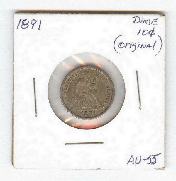 1419: 1891 U.S. SEATED LIBERTY DIME