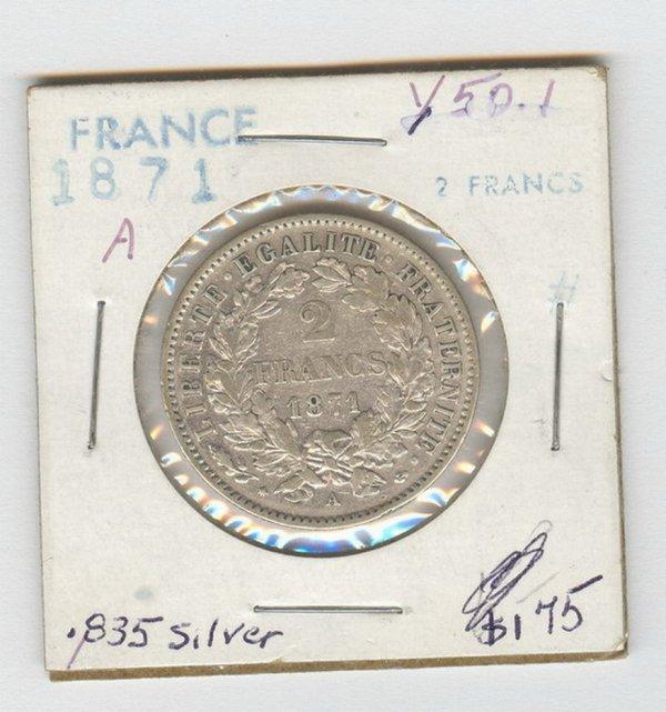 1420: 1871 FRANCE SILVER 2 FRANCS