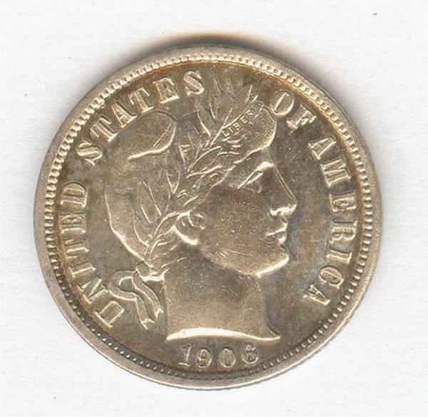 1423: 1906 U.S. BARBER DIME