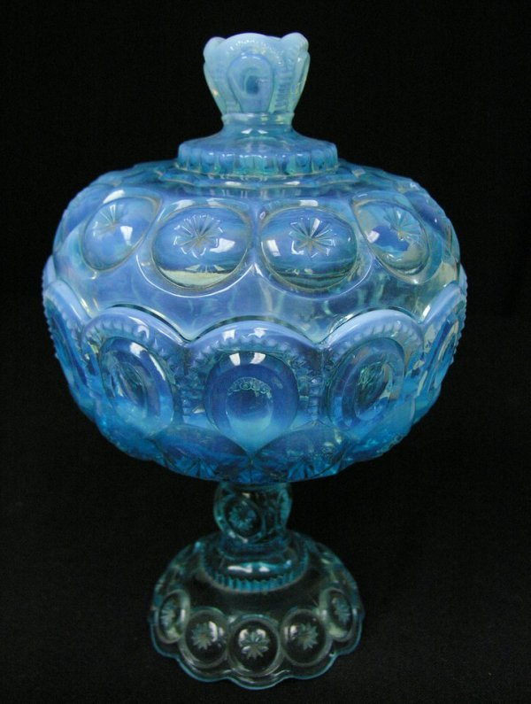 1002: BLUE OPALESCENT COVERED COMPOTE