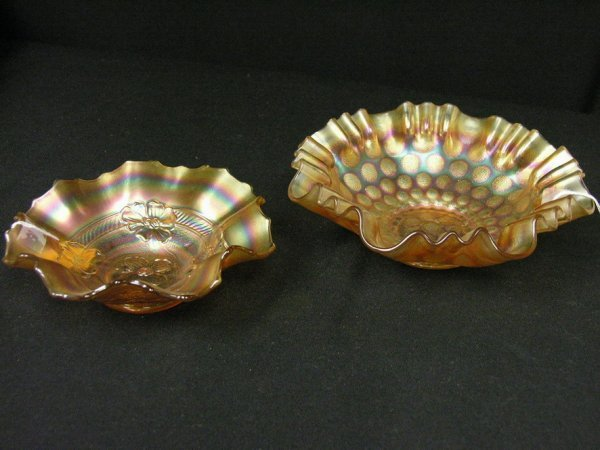 1006: 2 PC LOT CARNIVAL GLASS BOWLS