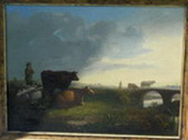 1171: EARLY 19TH CENTURY OIL ON CANVAS CATTLE LANDSCAPE