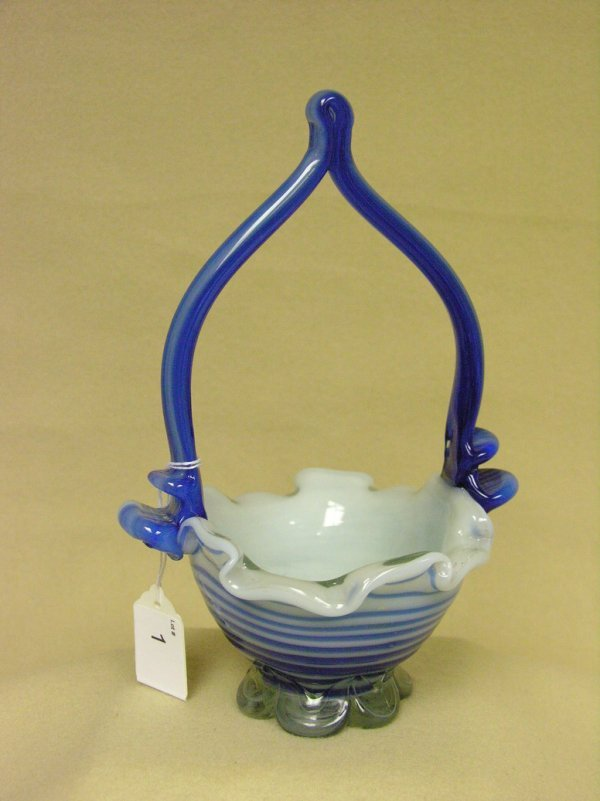 1: BLUE AND WHITE ART GLASS BASKET