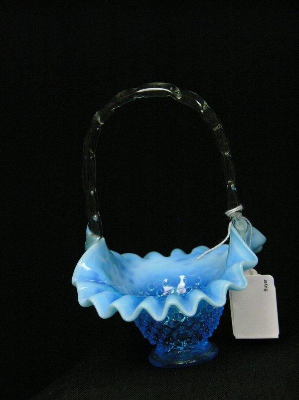 12: BLUE OPALESCENT HOBNAIL BASKET