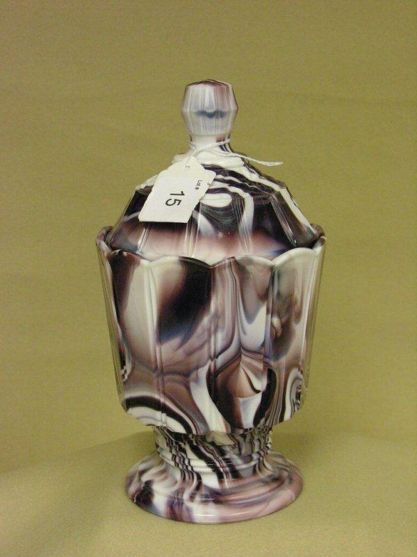 15: SLAG GLASS COVERED VASE