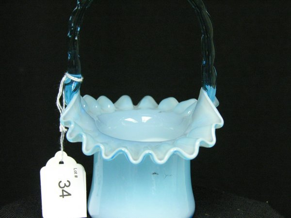 34: BLUE ART GLASS BASKET - 2