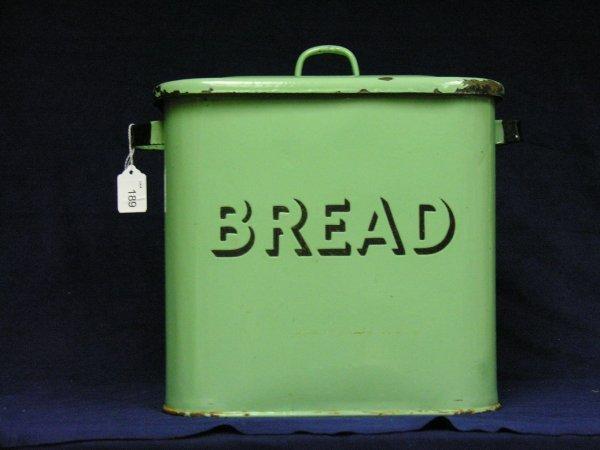 189: VINTAGE GREEN PORCELAIN BREAD BOX