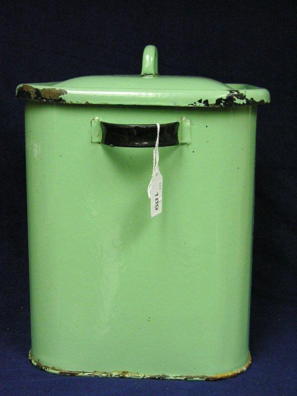 189: VINTAGE GREEN PORCELAIN BREAD BOX - 2