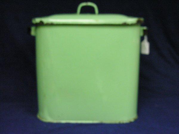 189: VINTAGE GREEN PORCELAIN BREAD BOX - 3