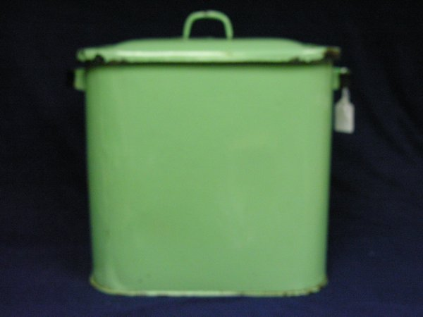 189: VINTAGE GREEN PORCELAIN BREAD BOX - 4