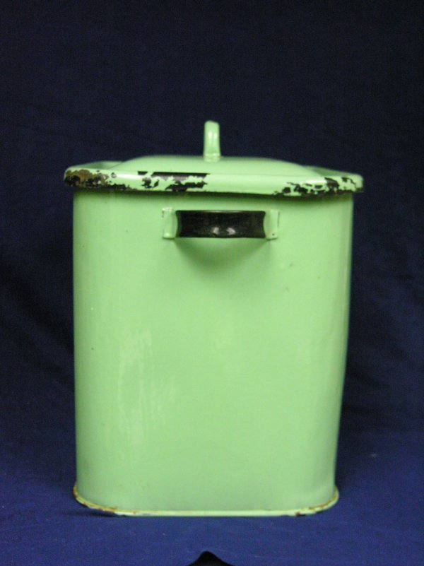 189: VINTAGE GREEN PORCELAIN BREAD BOX - 5