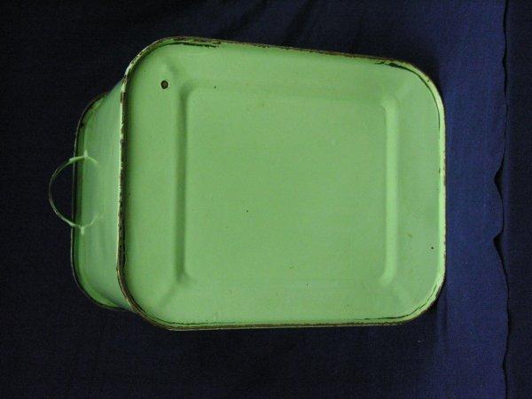 189: VINTAGE GREEN PORCELAIN BREAD BOX - 6