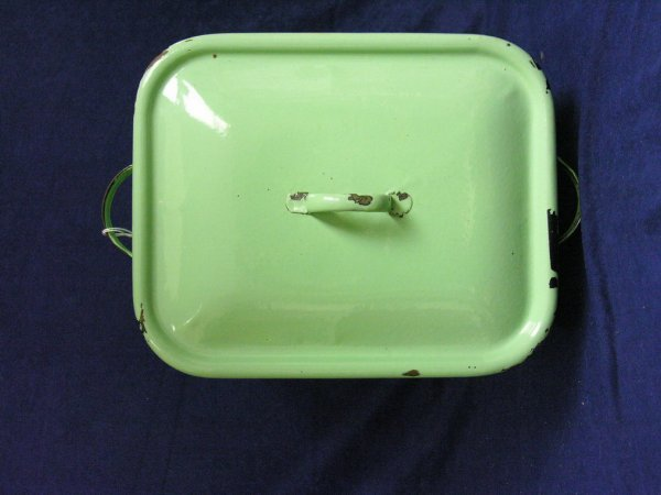 189: VINTAGE GREEN PORCELAIN BREAD BOX - 7