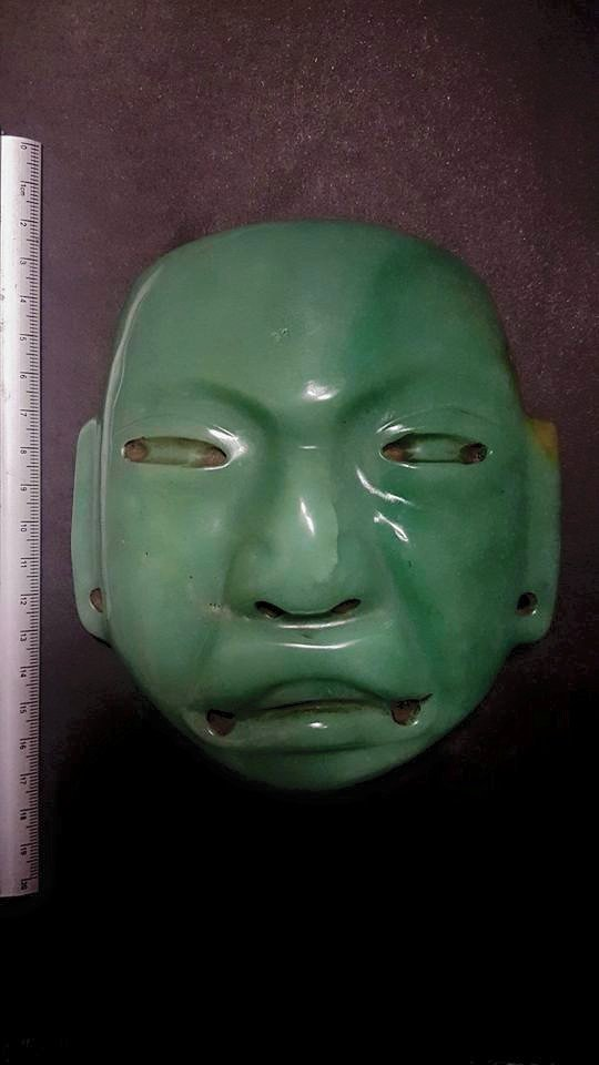 Original Antique Olmec green quartzite death mask