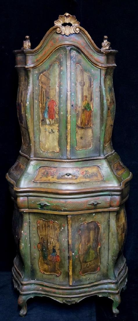 VENETIAN PAINTED 2 PART BOMBE CABINET